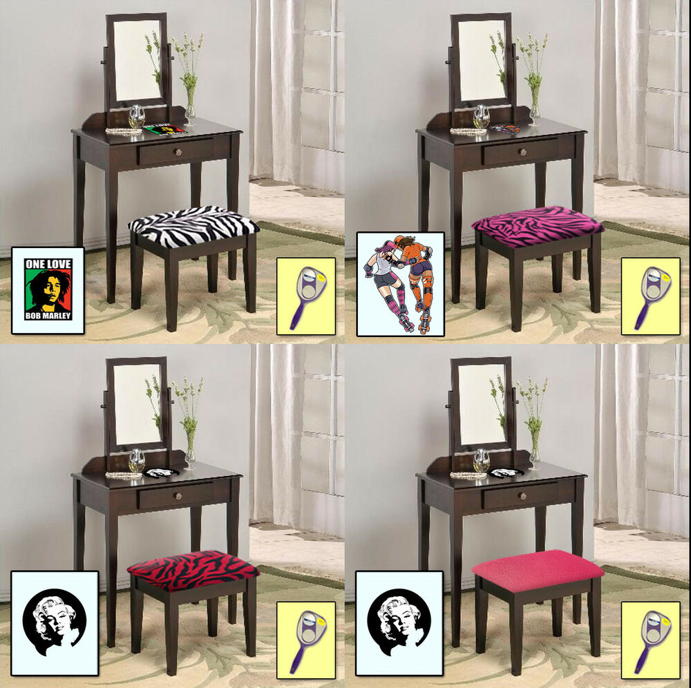 Fc468 Themed Espresso Cappuccino Make Up Vanity Table W