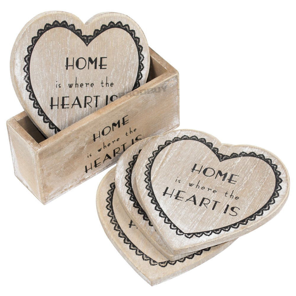 Set Of 4 Heart Shaped Wooden Drinks Coasters With Holder