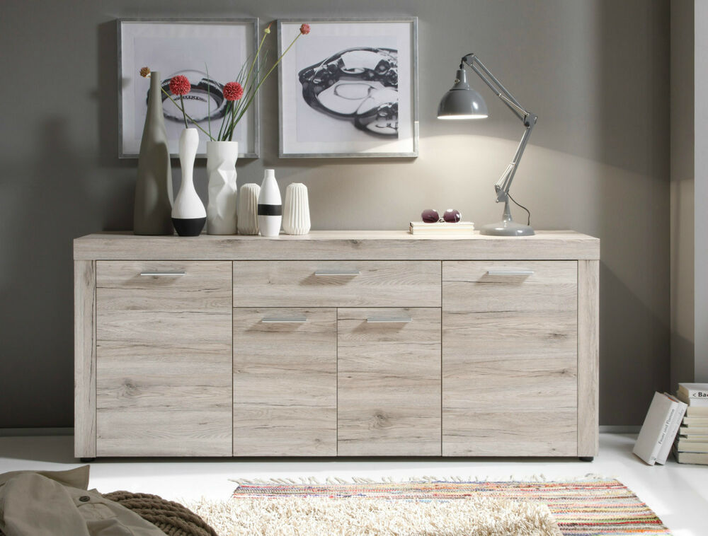 kommode sideboard eiche sand wohnzimmer m bel schrank esszimmer anrichte fiesta ebay. Black Bedroom Furniture Sets. Home Design Ideas