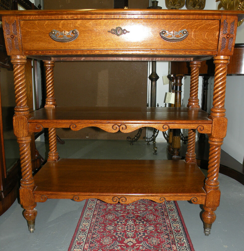 19th Century Three Tiered Shelf Oak Small Server Buffet