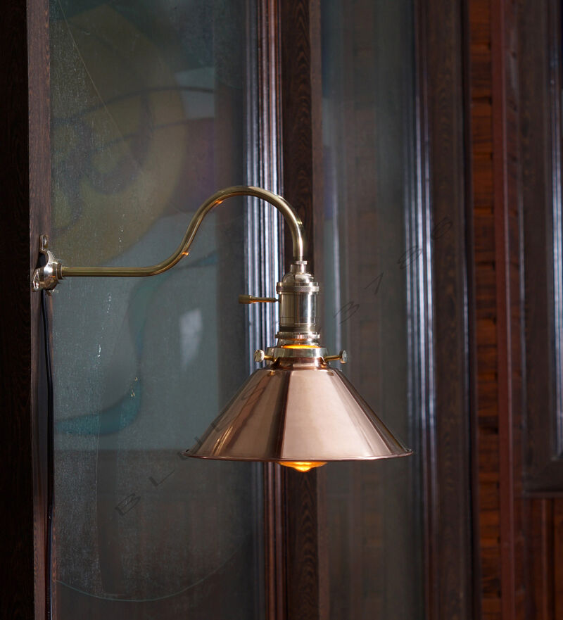 Wall Mount Lamp Shades : Vintage Industrial Copper shade Wall Lamp Retro Edison Wall Mount DIY Lighting eBay