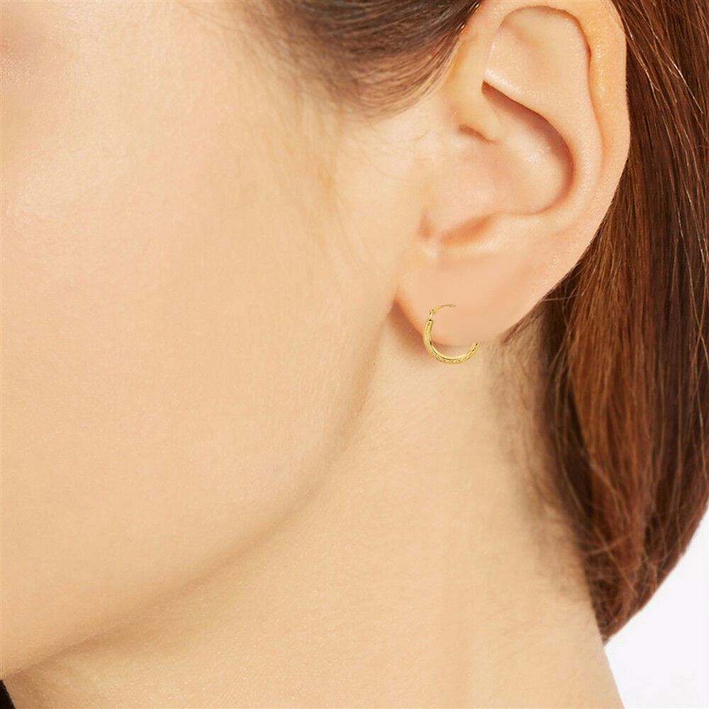 10k real yellow gold hoop earrings tubular 16mm fancy. Black Bedroom Furniture Sets. Home Design Ideas