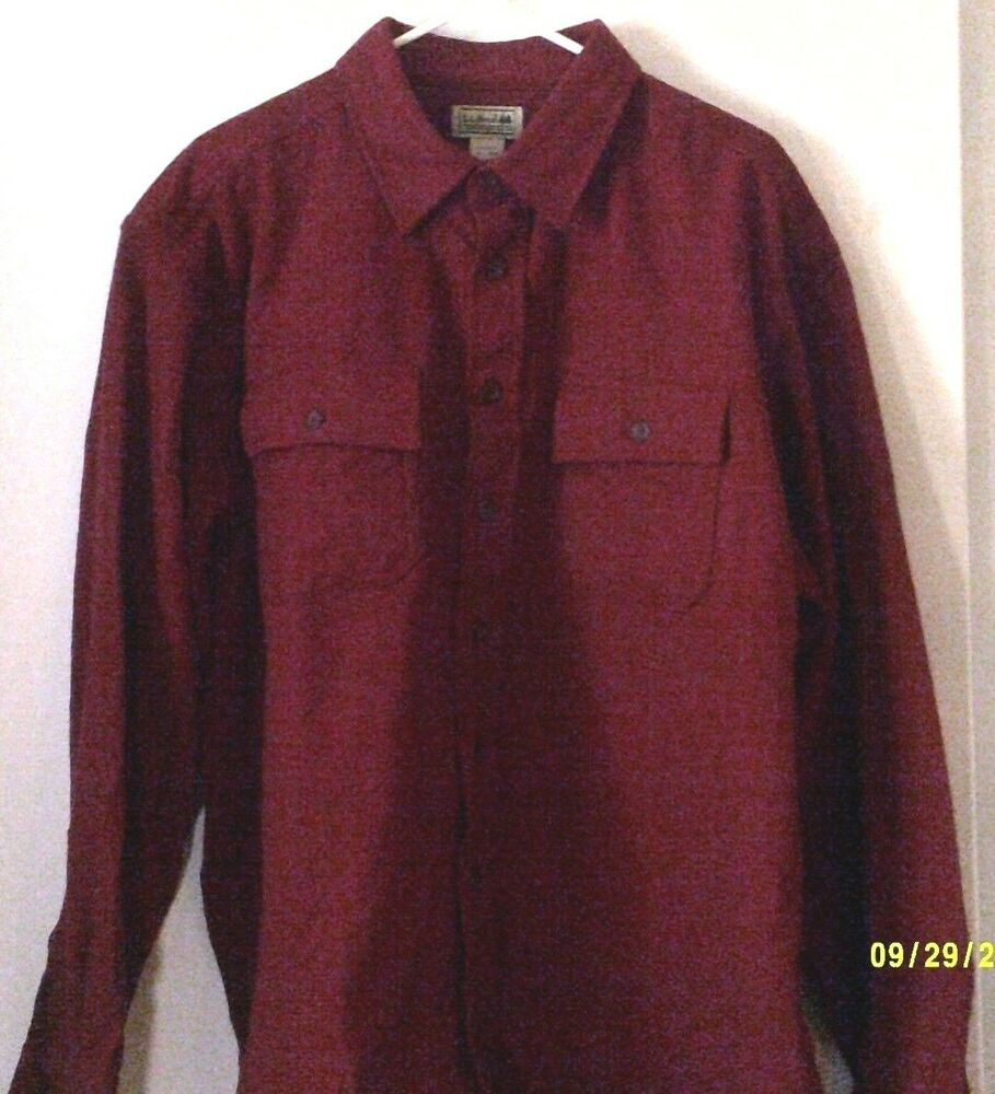 l l bean mens shirt sleeve med burgundy heavy