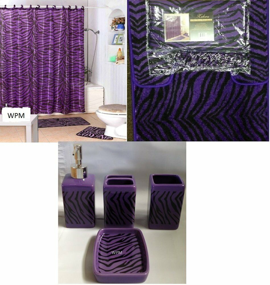 19piece Bathroom Set Purple Zebra Animal Printed Memory