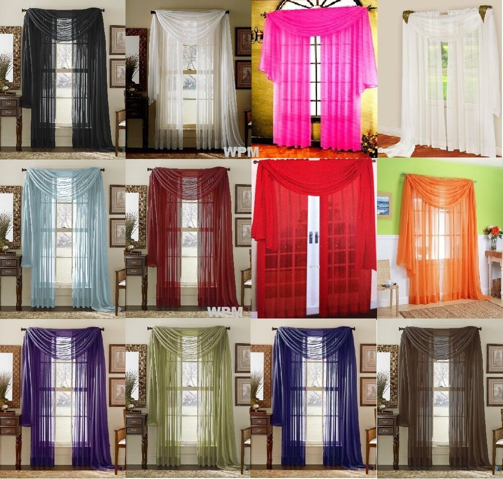 3 Piece Sheer Panel Set Window treatment covering Curtains Scarf12 colors eBay