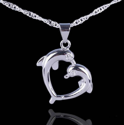 Love Charm Sterling Silver Dolphin Necklace Pendant With