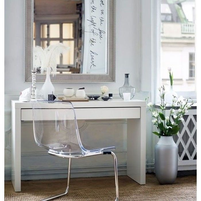 Dressing table with drawer modern white vanity make up for Glass makeup table