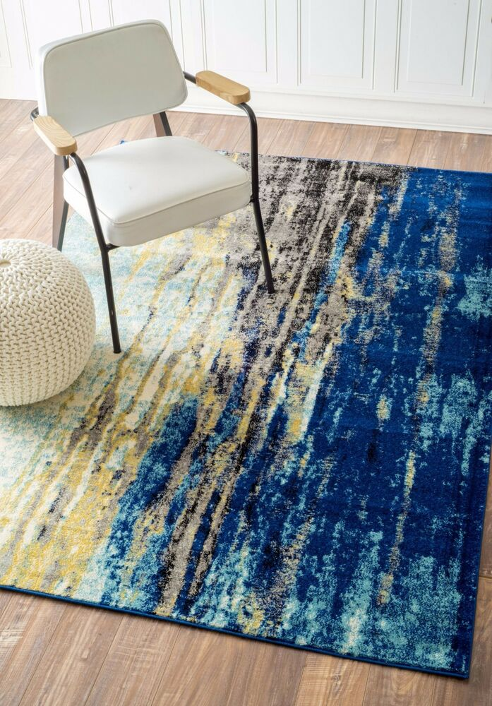 Nuloom Bosphorus Abstract Waterfall Contemporary Blue Area