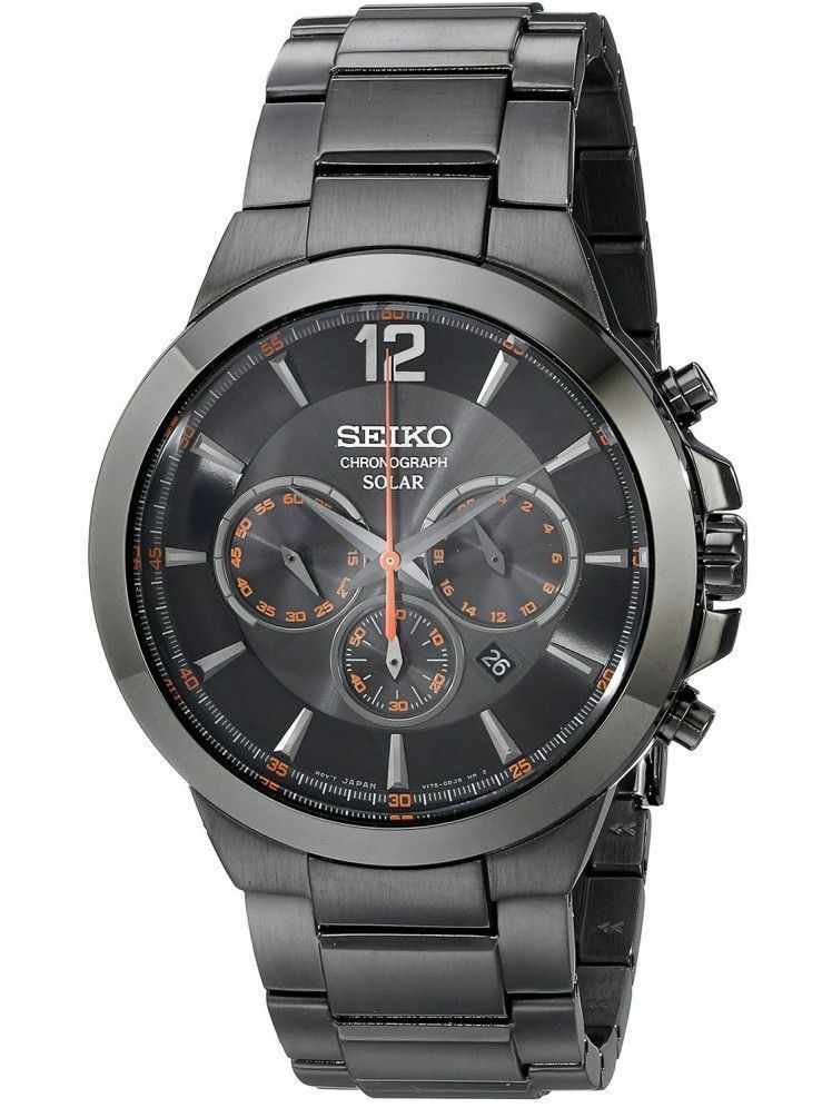 New seiko ssc323 black plated solar chronograph stainless steel men 39 s watch 29665180223 ebay for Metal watches