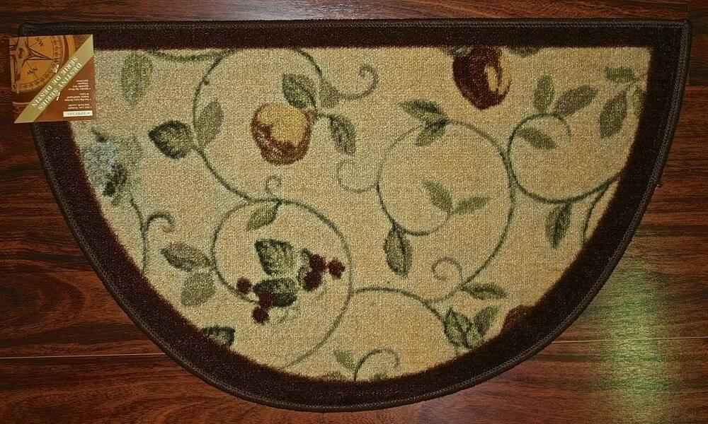 19X32 Slice Wedge Kitchen Rug Mat Brown Green Beige Washable Fruit Grapes Pea