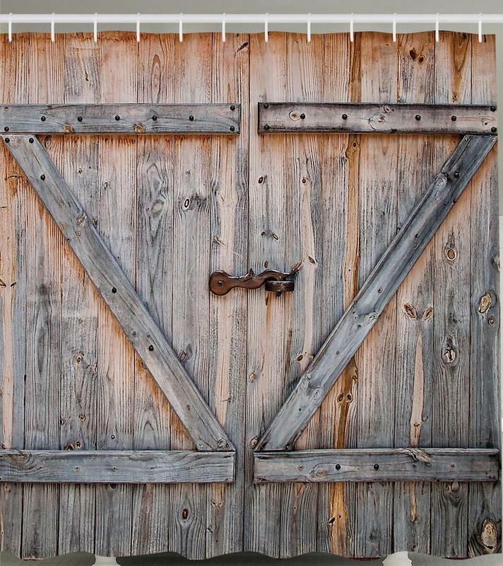 Rustic wooden garage barn door gate distressed boards
