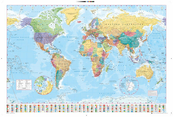 WORLD MAP POSTER 24x36 GEOGRAPHY COLOR FLAGS 33057 eBay
