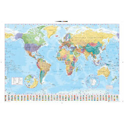 Kyпить WORLD MAP POSTER - 24x36 GEOGRAPHY COLOR FLAGS 33057 на еВаy.соm