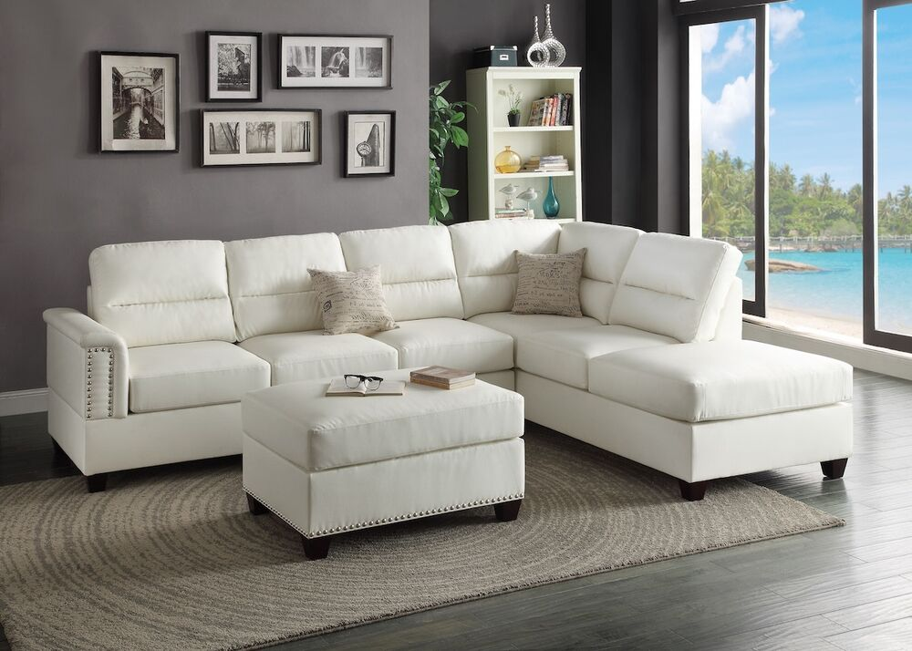 Modern white bonded leather sectional couch sofa ottoman for Bonded leather sectional with chaise