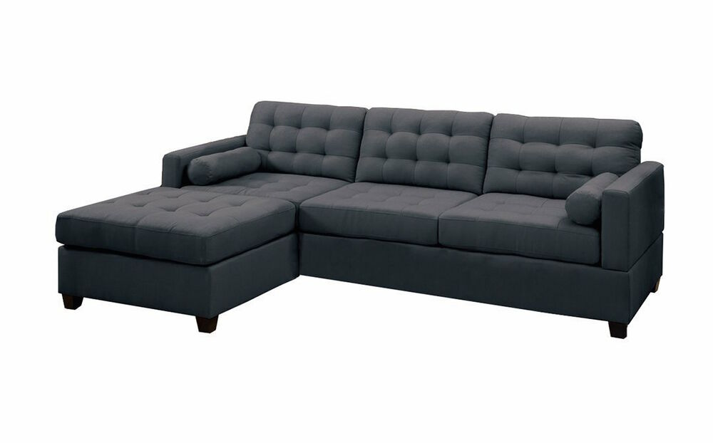 Modern charcoal grey black fabric sectional sofa couch set for Black sectional with chaise
