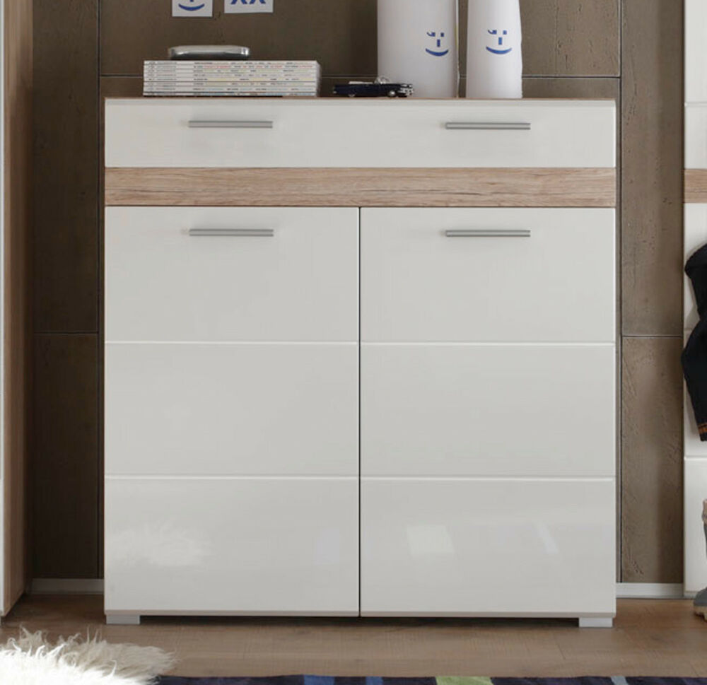 schuhschrank flurkommode wei hochglanz eiche flurm bel sideboard schrank setone ebay. Black Bedroom Furniture Sets. Home Design Ideas