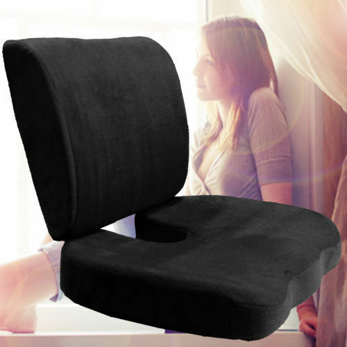 Memory Foam Coccyx Orthoped Seat Cushion Back Support Lumbar Relief Pillow Black Ebay