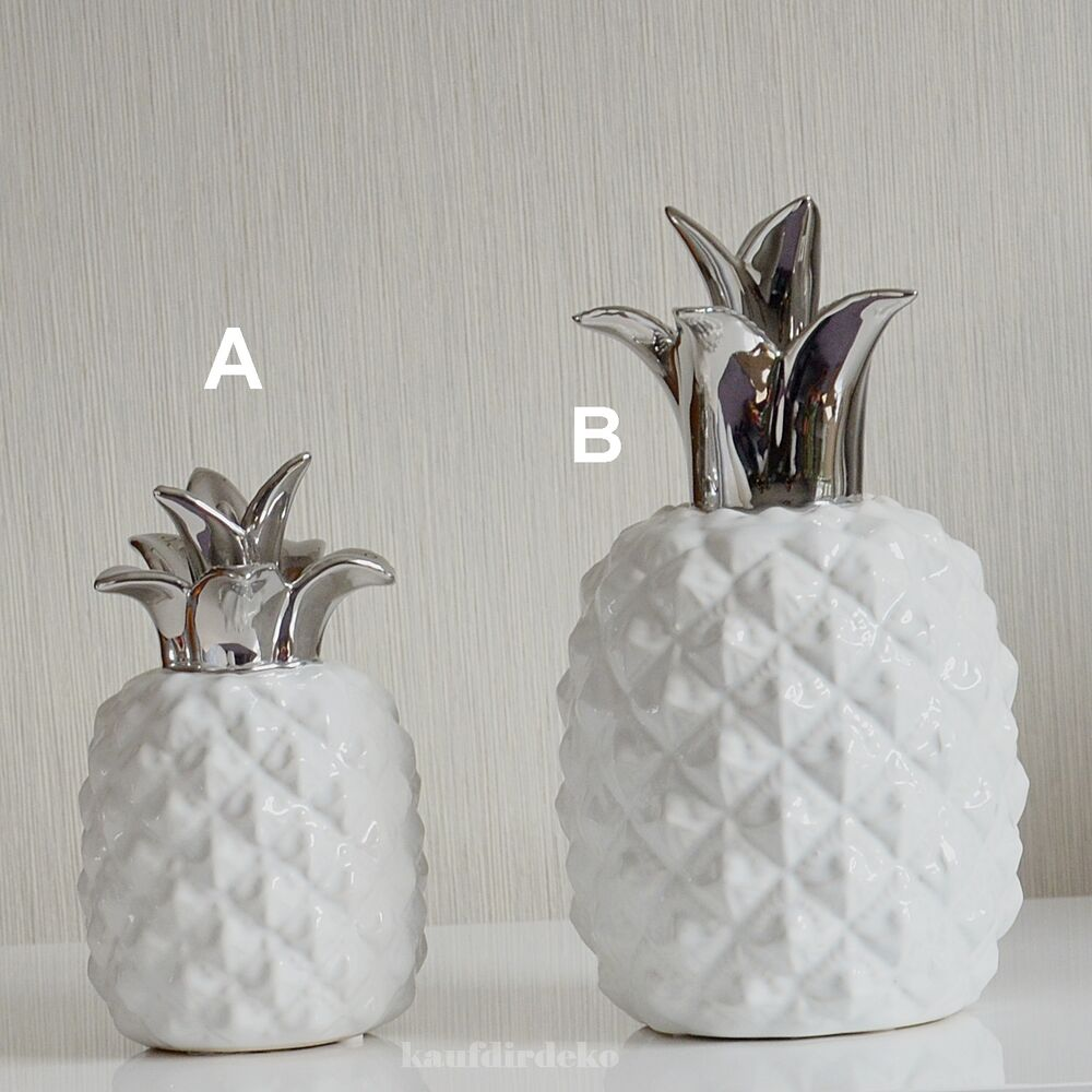 deko frucht ananas keramik wei silber skulptur deko objekt deko obst ebay. Black Bedroom Furniture Sets. Home Design Ideas