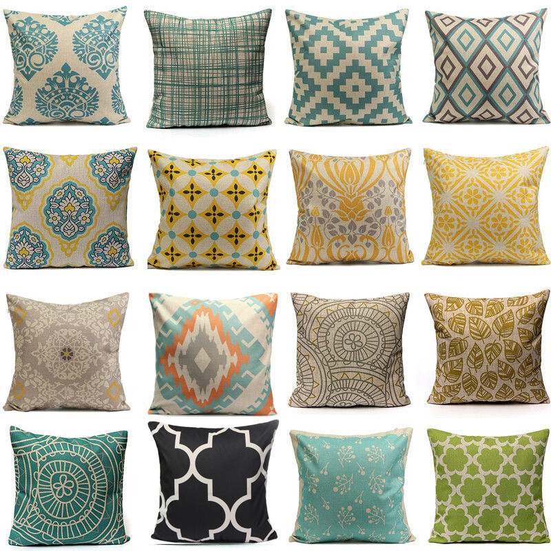 Vintage geometric flower cotton linen throw pillow case for Sofa cushion covers 24x24