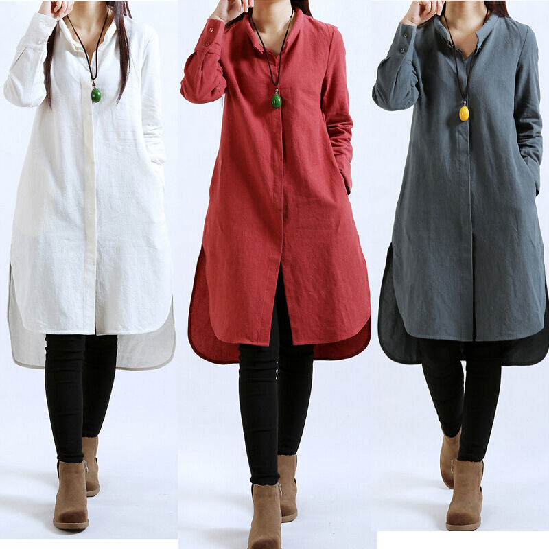 Casual Women Long Sleeve Cotton Linen Tunic A Line Button
