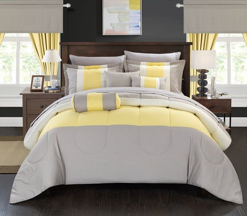 Yellow Gray Bed In A Bag : Piece comforter set bed in a bag queen size bedding