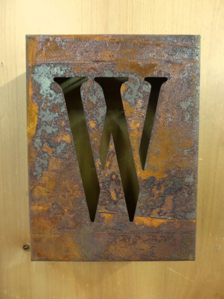 vintage metal letters for the wall 8 quot rusted industrial metal block cut sign letter w 14776