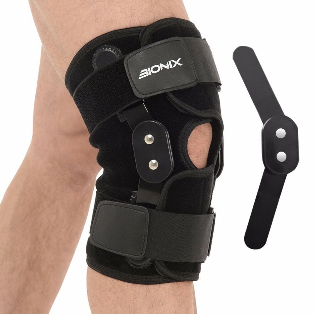 Hinged Knee Brace : Bionix hinged knee support adjustable strap neoprene pain