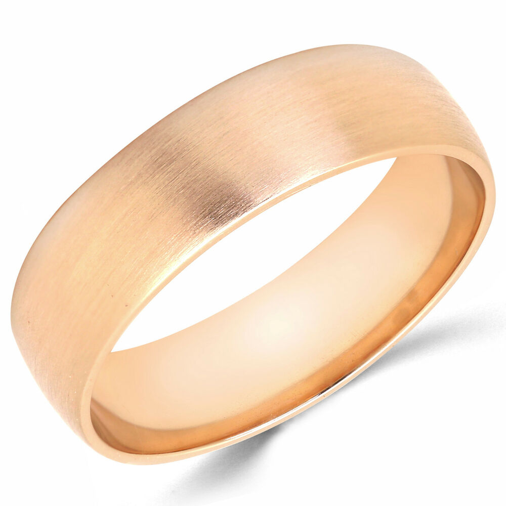 rose gold wedding rings for women 10k solid gold 6mm brush finish men s and women s 7125