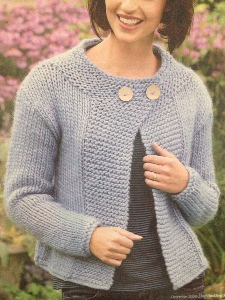 Ladys Coat/Jacket Chunky Yarn Knitting Pattern - Sizes 10 ...