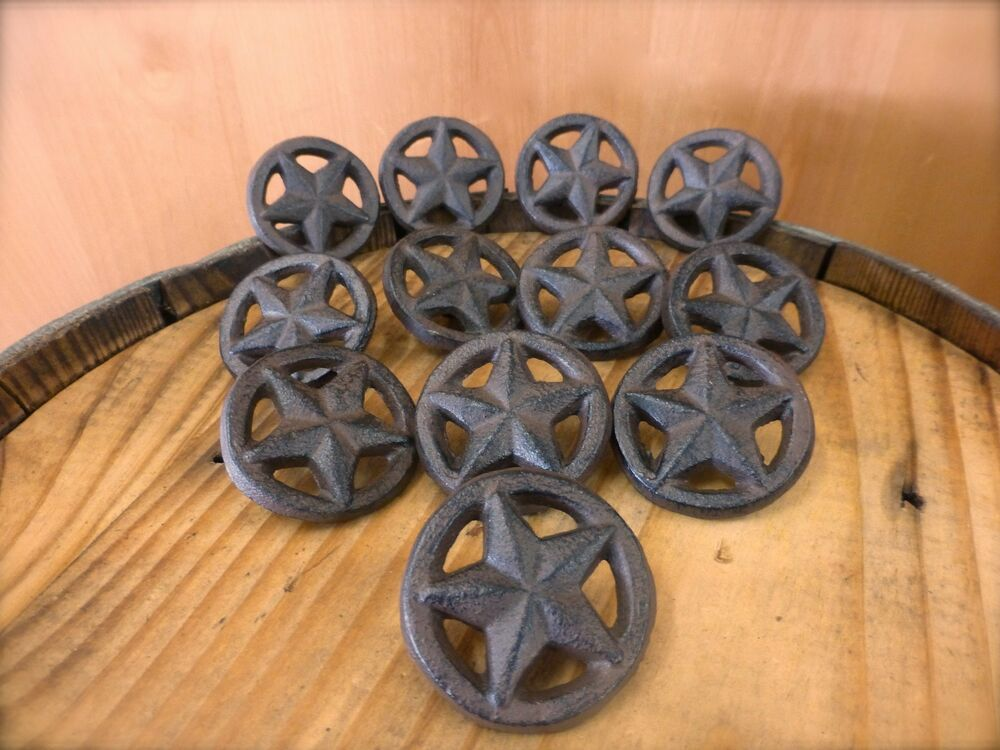 12 Brown Rustic Star Drawer Cabinet Pull Knobs Cast Iron