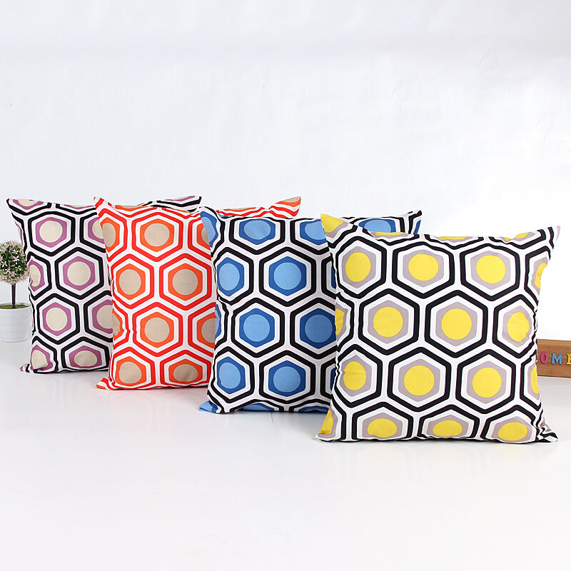 geometric cotton linen soft pillow case throw cushion cover