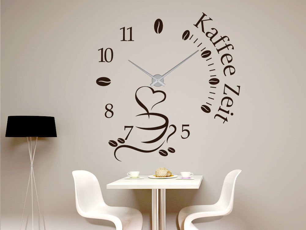 wandtattoo uhr xxl mit uhrwerk f r k che spruch kaffee zeit kaffeetasse bohnen ebay. Black Bedroom Furniture Sets. Home Design Ideas