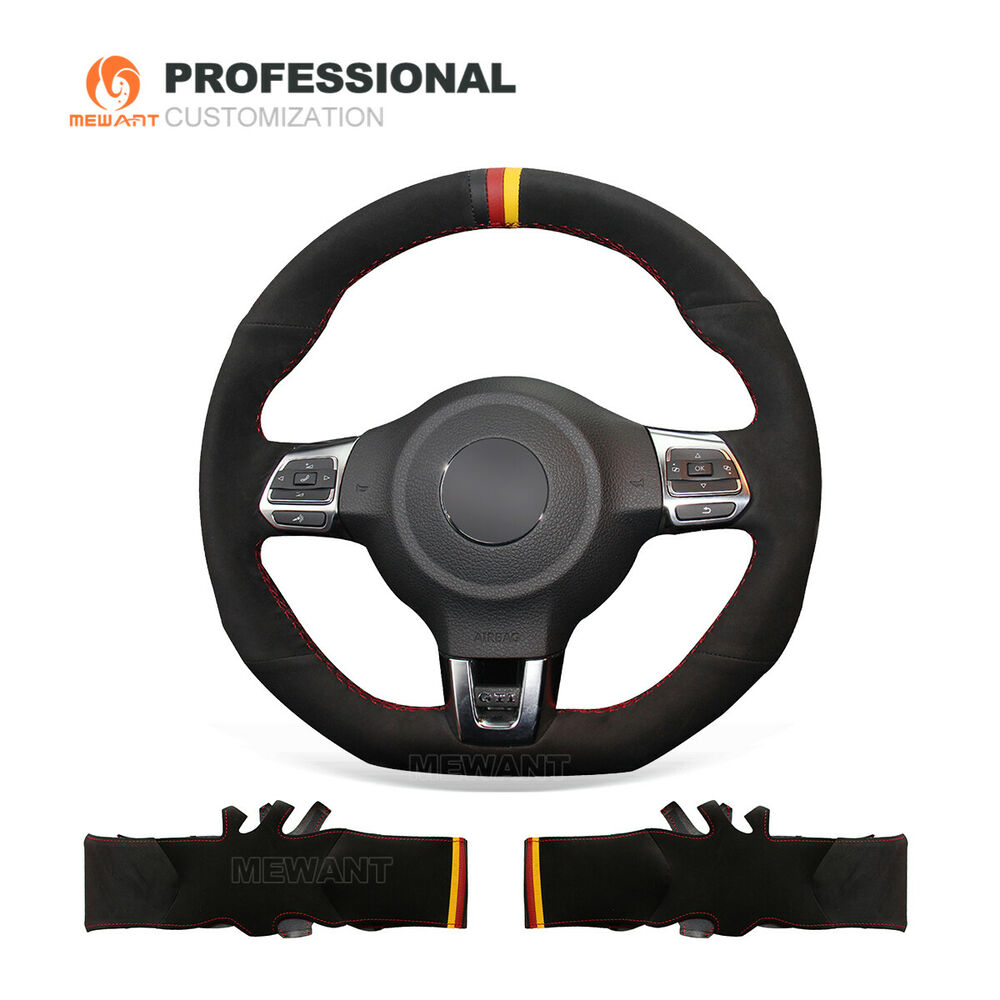 black suede steering cover for volkswagen golf 6 gti mk6. Black Bedroom Furniture Sets. Home Design Ideas
