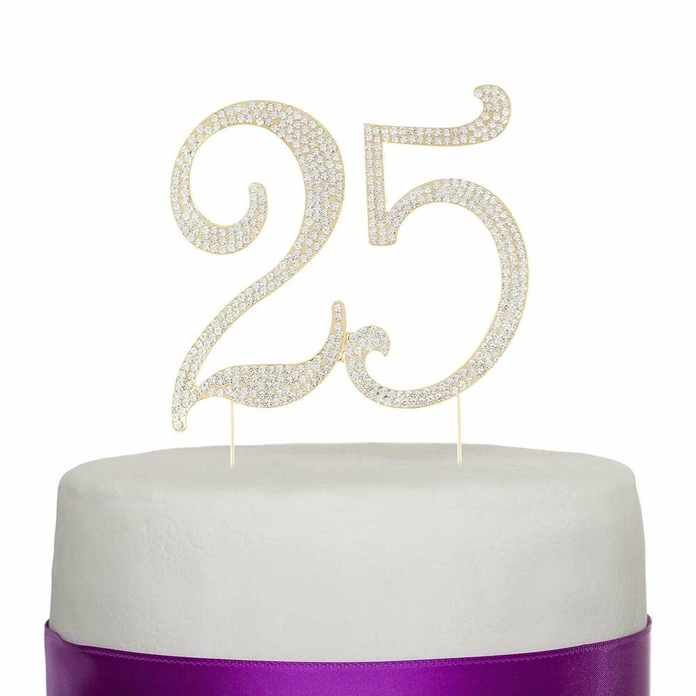 Details About 25 Gold Cake Topper 25th Birthday Anniversary