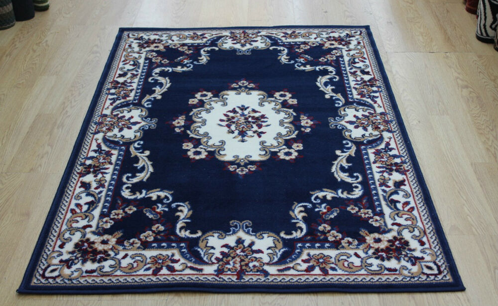 Navy Blue Traditional Look Floral Rug Carpet Mats Small M