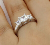 1.50 Ct 14K White Gold Princess 3 Stones Wedding Engagement Bridal Promise Ring