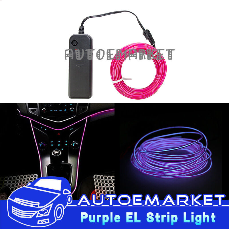 5m purple interior light car led el wire neon lamp atmosphere glow strip suv 12v ebay. Black Bedroom Furniture Sets. Home Design Ideas