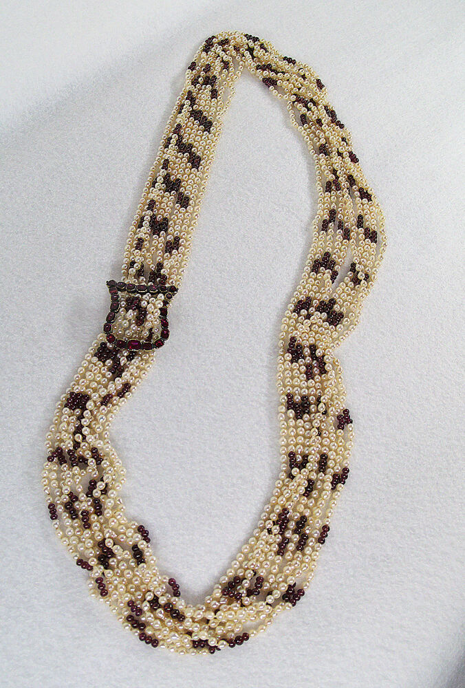 Antique Multi Strand Pearl Garnet Silver Buckle Necklace
