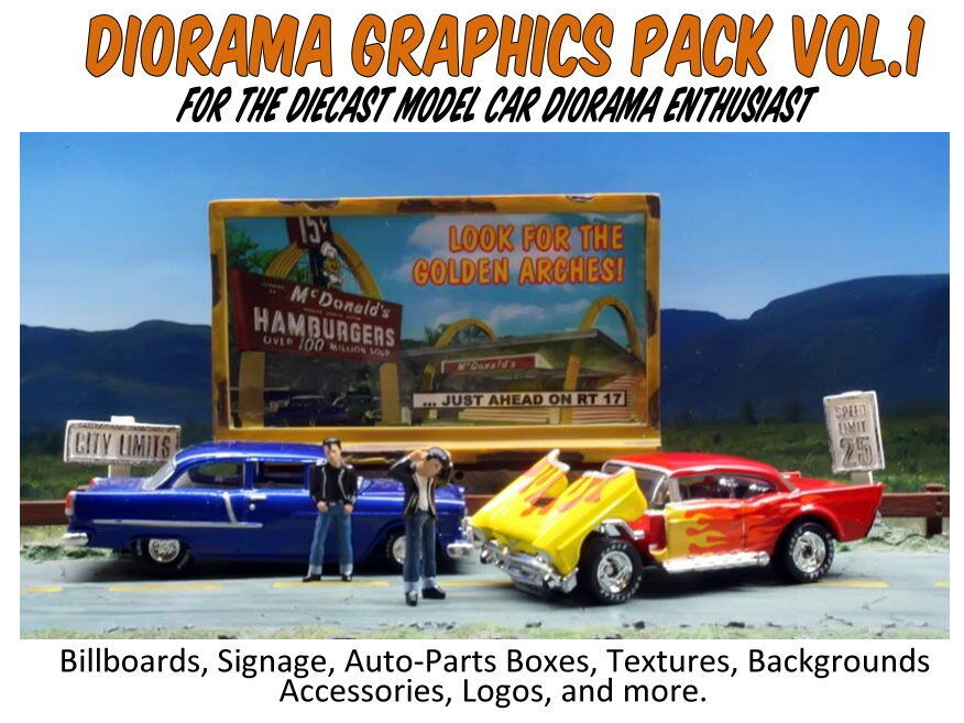 1 24 1 25 Barn Garage Diorama For Sale On Ebay: Diorama Graphics Pack Collection-Printable Cutouts For