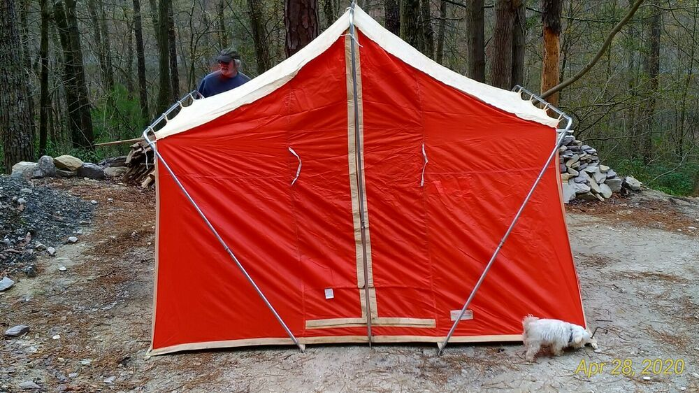 Vintage canvas tent trailblazer nylon camping winchester for How to make a canvas tent