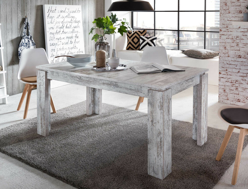 esstisch esszimmer tisch wei pinie holz in shabby ausziehbar 160 200 cm vintage ebay. Black Bedroom Furniture Sets. Home Design Ideas