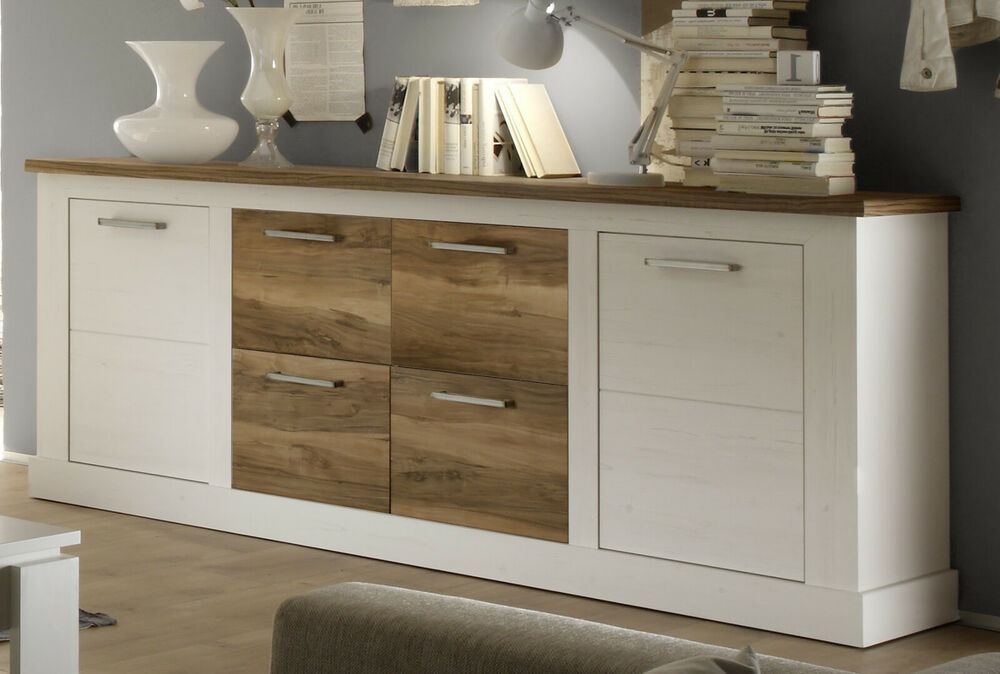 sideboard anrichte pinie wei und nussbaum satin 210 cm landhaus kommode toronto ebay. Black Bedroom Furniture Sets. Home Design Ideas