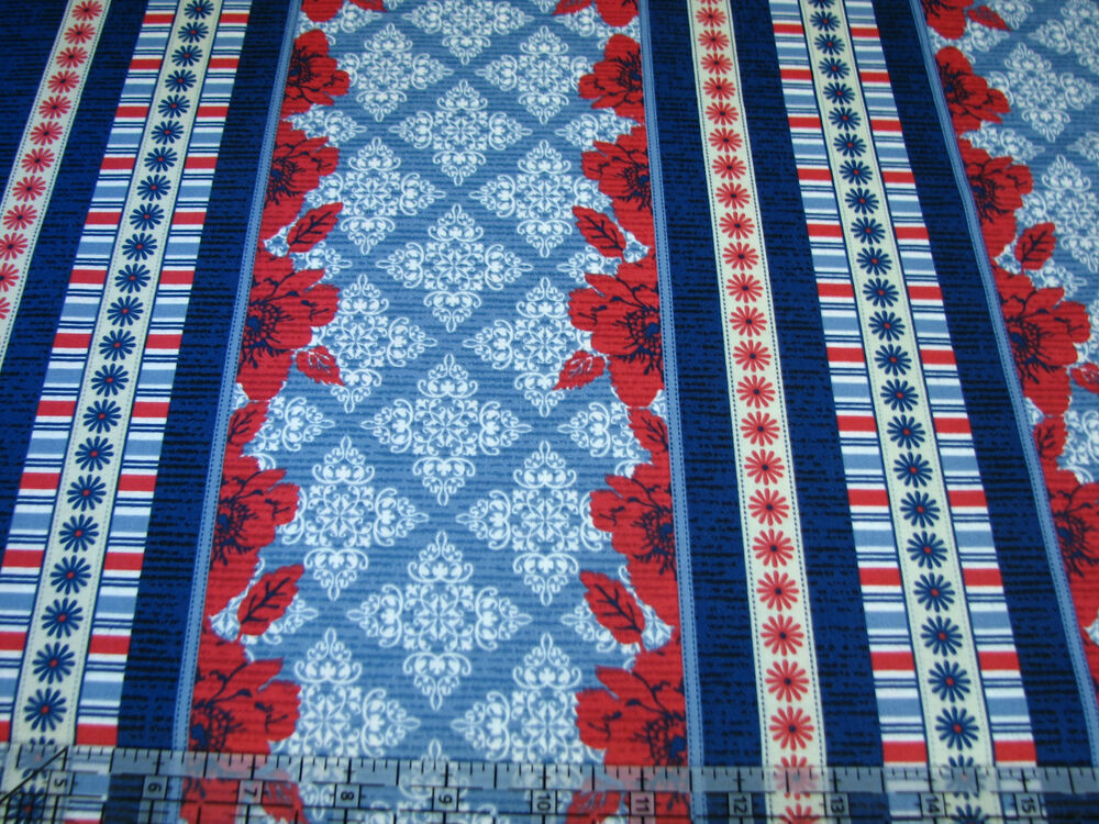 3 Yards Quilt Cotton Fabric - Quilting Treasures Nantucket Poppy Pattern Stripe eBay