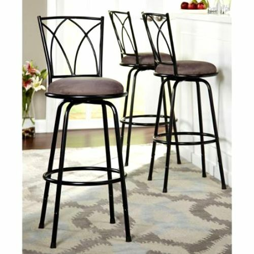 Black Bar Stools Set Of 3 Patio Home Outdoor High Chair