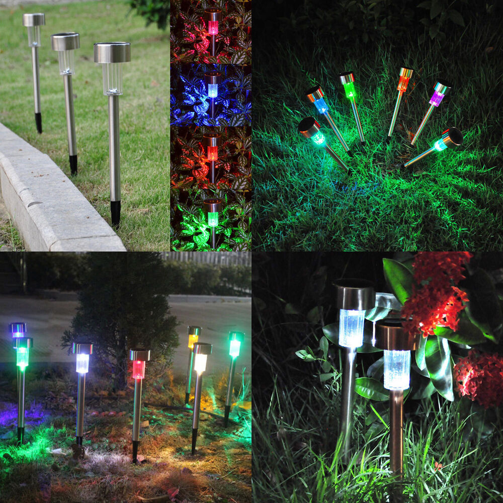 10x color changing outdoor garden led solar powered for Garden lights