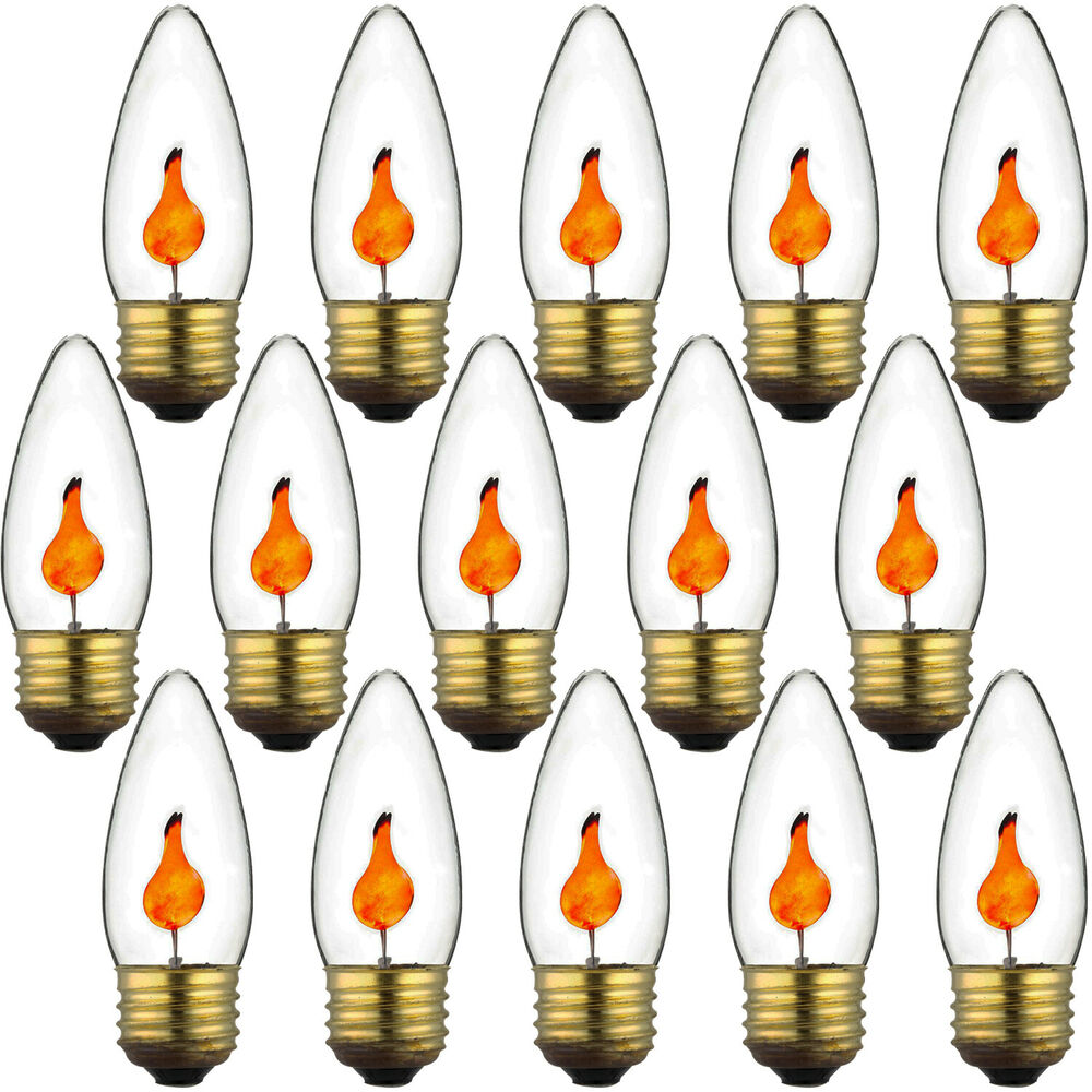 3 Watt Medium E26 Chandelier Clear Orange Flicker Torpedo Light Bulb 15pack New Ebay