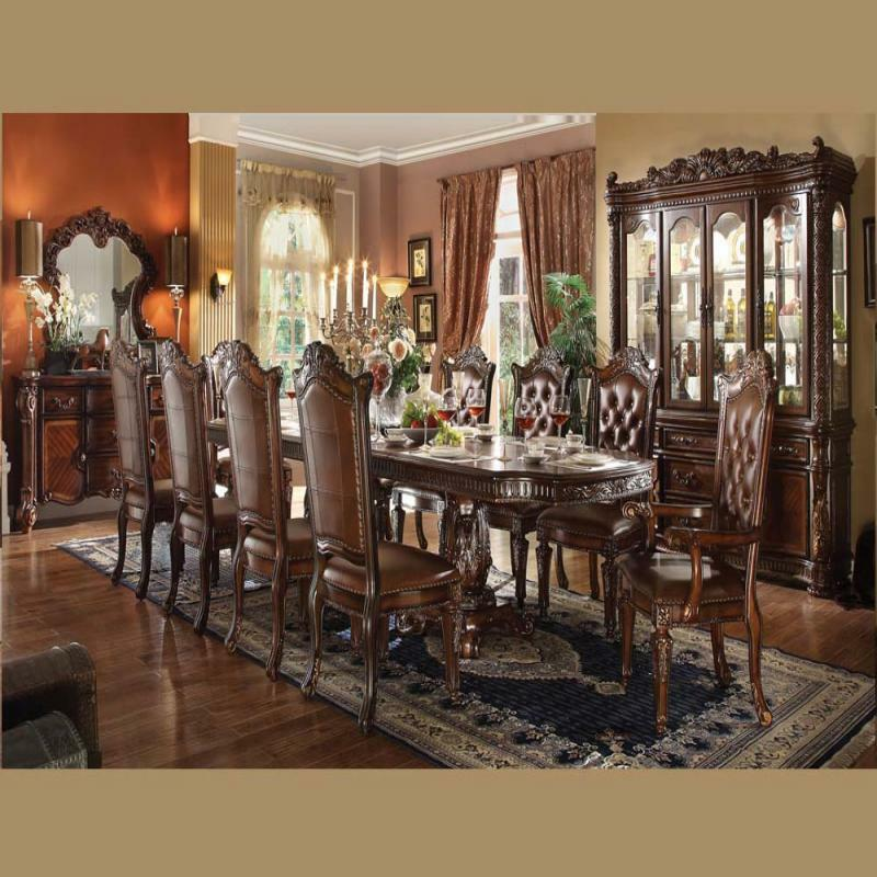 Brussels Traditional Dining Room Set 7 Piece Set: Formal Vendome Cherry Double Pedestal Dining Table Set