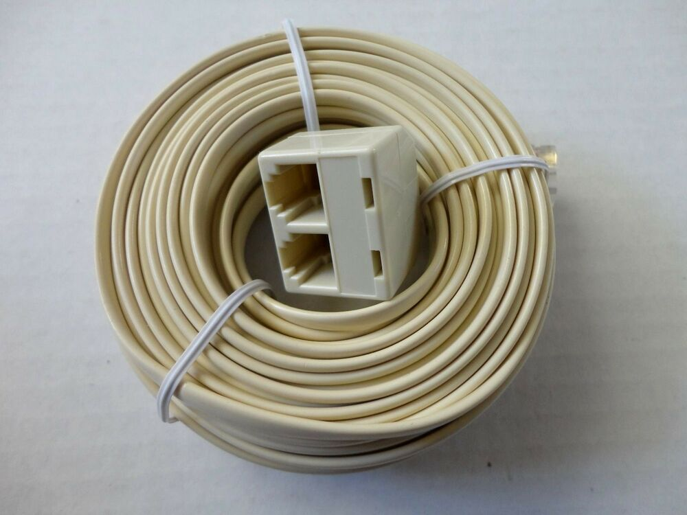 50ft Modular Plug To Double Jack Extension Telephone Flat