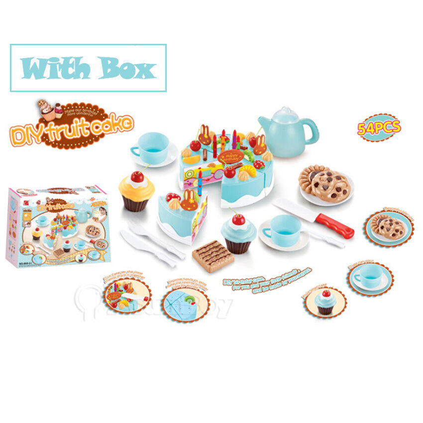 Blue kids birthday candle strawberry cake kitchen set for Kitchen set cake
