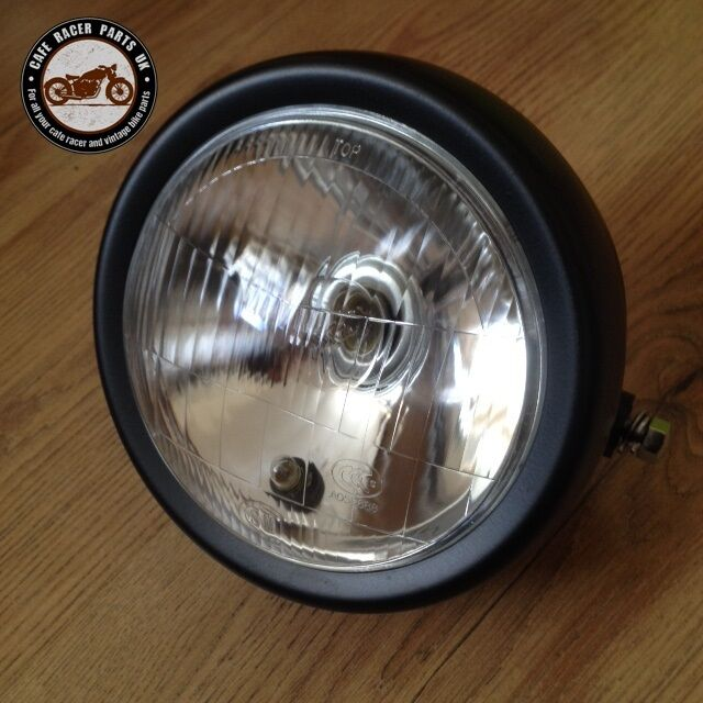 Cafe Racer Headlight Assembly : New inch black motorcycle side mount headlight round